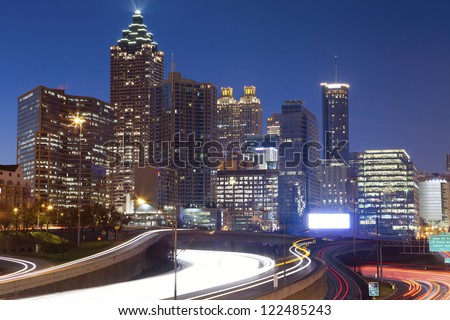 Atlanta. Image of the Atlanta skyline during twilight blue hour.