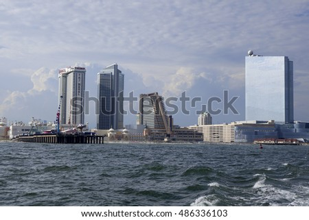 Atlantic City, New Jersey, USA - August 22, 2016: The Showboat and Taj Mahal an Revel Casino in Atlantic City, New Jersey on August 22, 2016