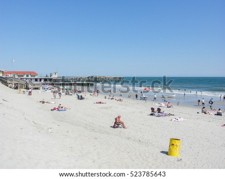 ATLANTIC CITY, UNITED STATES - AUGUST 15, 2010 -   View of the beach and skyline from The Pier Shops at Caesars in Atlantic City, New Jersey.