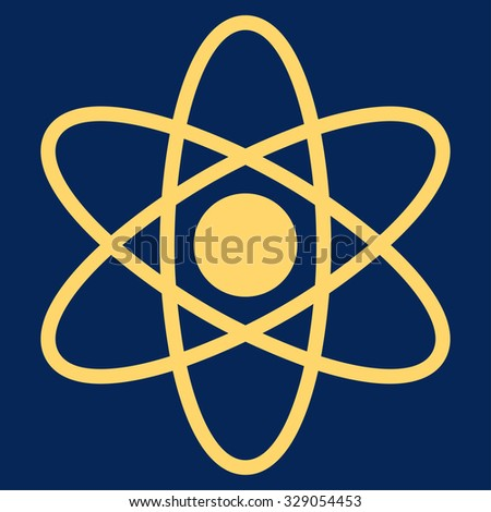 Atom glyph icon. Style is flat symbol, yellow color, rounded angles, blue background.