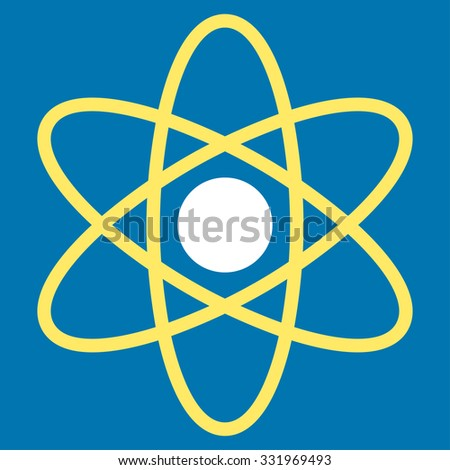 Atom illustration icon. Style is bicolor flat symbol, yellow and white colors, rounded angles, blue background.