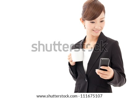attractive asian businesswoman using smart phone on white background