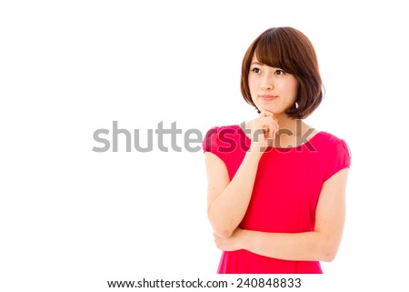 attractive asian woman thinking isolated on white background