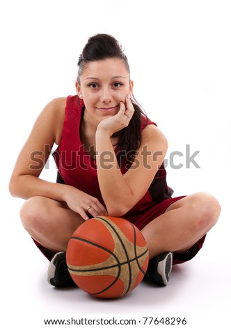 Attractive basketball player with ball