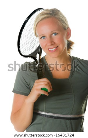 Attractive blond woman with tennis racket Portion of photographers commission of this image will be donated to Autism Ontario.