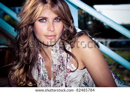 attractive blue eyes woman outdoor summer portrait