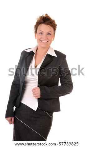 Attractive business woman isolated on white background