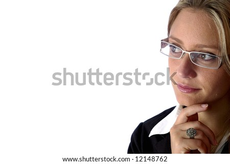 attractive Business woman wear glasses and looking away