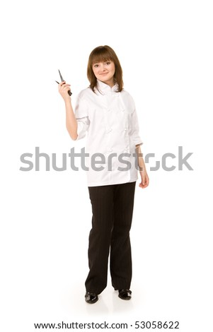 Attractive cook girl holding a knife - isolated on white
