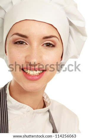 Attractive cook woman a over white background