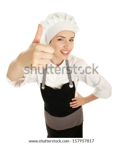 Attractive cook woman showing ok over white background