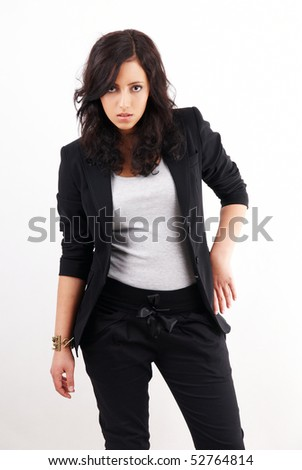 attractive dark skinned woman on white background