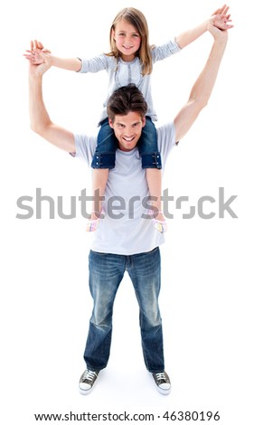 Attractive father giving his daughter piggyback ride against a white background
