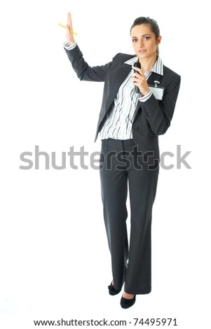 attractive female conference speaker during presentation, holds microphone, isolated on white