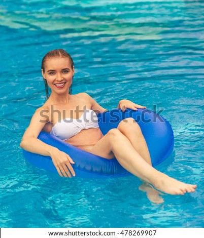 Happy smiling girl near swimming stock photo 66224881 - Where is my nearest swimming pool ...