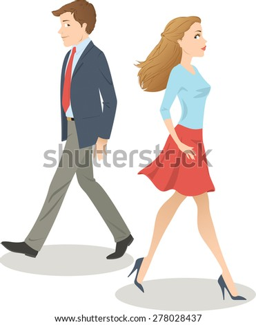 Attractive man and woman glance back in admiration as they walk past each other. Raster illustration.
