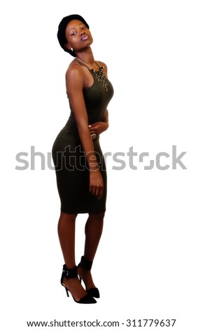 Attractive Skinny Black Woman Standing In Green Dress