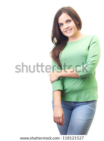 Attractive smiling young woman in a green shirt. Isolated on white background
