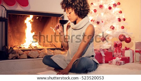 Attractive stylish woman celebrating Christmas