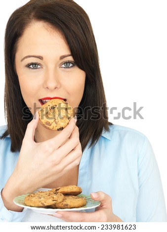Attractive Twenty Something Woman Eating Biscuits