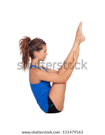 Attractive woman doing exercises isolated on white background