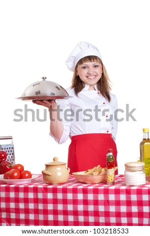 attractive woman holds a large platter with food, white background