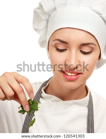 attractive woman preparing food in the kitchen