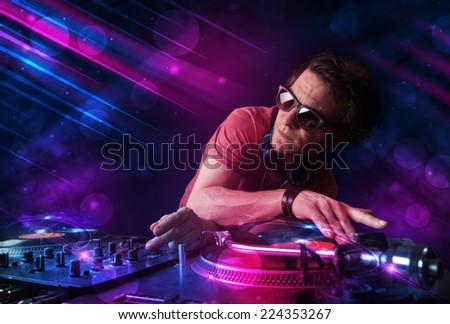 dj playing disco house progressive electro stock photo 66133054 shutterstock. Black Bedroom Furniture Sets. Home Design Ideas
