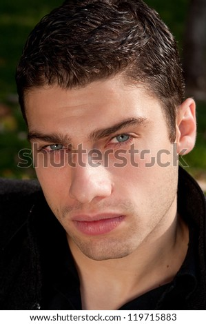 attractive young man close up