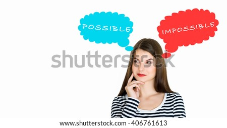 Attractive young woman deep in her thoughts, on white background