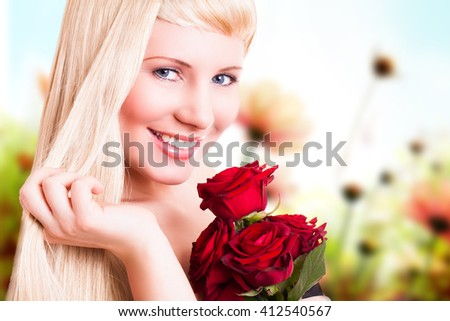 attractive young woman with a rose
