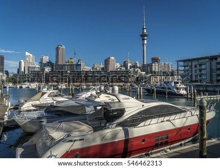 AUCKLAND - JANUARY 01: Yachts moored at Viaduct Harbor Basin on January 01 2017.  This popular visitor precinct was once a  commercial harbor. It now features apartments, offices and restaurants.