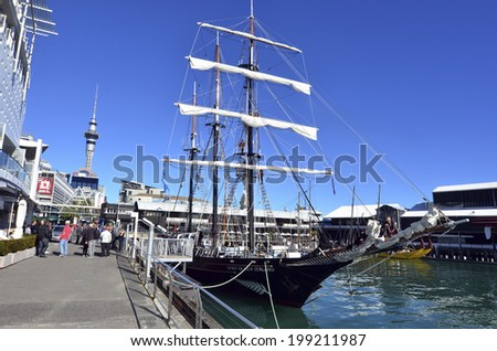 AUCKLAND - JUNE 01 2014:Spirit of New Zealand mooring at Princes Wharf.It's a tall ship with steel-hulled, three-masted barquentine that was built by the Spirit of Adventure Trust youth development.