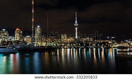 Auckland, New Zealand - Circa May 2014 - Auckland Skyline at night