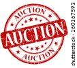 auction grunge red round stamp - stock photo