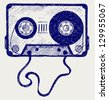 Audio cassette tape. Doodle style. Raster version - stock photo
