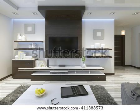 Tv Hanging On Wall Desk Bedroom Stock Illustration