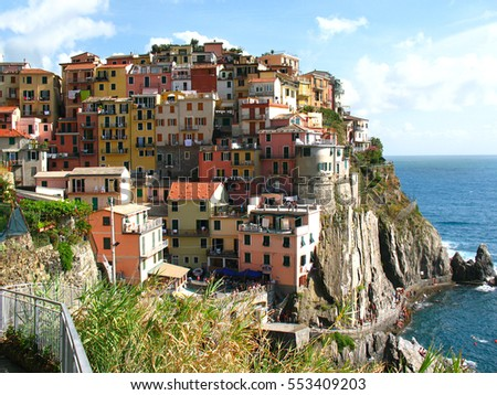 August 25, 2016.Panoramic view of Manarola, fishing village in Five lands, Cinque Terre National Park in the evening, Liguria, Italy.