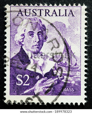 AUSTRALIA - CIRCA 1966:A Cancelled postage stamp from Australia illustrating George Bass, issued in 1966.
