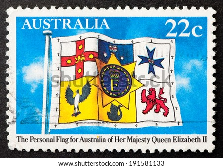 AUSTRALIA - CIRCA 1981:A Cancelled postage stamp from Australia illustrating Personal flag of Queen Elizabeth II, issued in 1981.