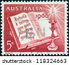 "AUSTRALIA - CIRCA 1960: A stamp printed in Australia from the ""Christmas"" issue shows Open Bible and Candle, circa 1960. - stock photo"