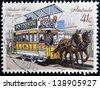 AUSTRALIA - CIRCA 1989: A stamp printed in Australia shows Adelaide horse tram, 1878, circa 1989 - stock photo