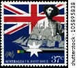 AUSTRALIA - CIRCA 1988: a stamp printed in Australia shows Australian colonist, first fleet vessel, Australia bicentennial, circa 1988 - stock photo