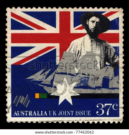 AUSTRALIA - CIRCA 1988: A stamp printed in Australia shows Early settler and sailing clipper, Australia UK Joint Issue, circa 1988