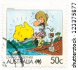 AUSTRALIA - CIRCA 1988: A stamp printed in Australia shows gold nugget and gold digger, circa 1988 - stock photo