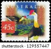 AUSTRALIA - CIRCA 1997: A Stamp printed in AUSTRALIA shows the Comb Crested Jacana, Fauna and Flora, series, circa 1997 - stock photo