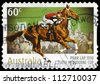 AUSTRALIA - CIRCA 2010: A Stamp printed in AUSTRALIA shows the Phar Lap, 1930 Winner, 150th Melbourne Cup issue, circa 2010 - stock photo