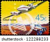 AUSTRALIA - CIRCA 2001: A Stamp printed in AUSTRALIA shows the Royal Flying Doctor Service Aircraft and Ambulance, Outback Services, series, circa 2001 - stock photo