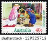AUSTRALIA - CIRCA 1992: a stamp printed in the Australia shows Children Dressed as Mary and Joseph with Baby Carriage, Christmas, circa 1992 - stock photo