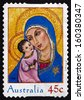 AUSTRALIA - CIRCA 2005: a stamp printed in the Australia shows Madonna and Child, Christmas, circa 2005 - stock photo